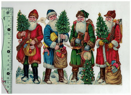 DECOUPIS Z&M 4 PERE NOEL JOUETS SAPIN CHEVAL BOIS LUTIN POMMES 24 X 17 CMS GAUFRE SANTA CLAUS XMAS CHRISTMAS SCRAP - Di Natale