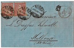 """1868, 10 C. 2 Werte """" BASEL """", Klarer Güller-Stp. ,Grenzverkehr !! , A4542 - Covers & Documents"""