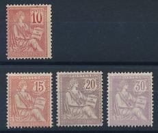 """DZ-206: FRANCE: Lot Avec """"MOUCHON"""" Neufs Sans Gomme N°112-125-126-128 - 1900-02 Mouchon"""