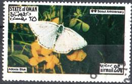 OMAN, CINDERELLA, FAUNA, FARFALLE, 1973, FRANCOBOLLO USATO EMISSIONE NON UFFICIALE - Oman