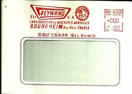 Lettre EMA Havas 1967 Heywang Machine Agricole Metier Agriculture Bourgheim Moulin Specimen  67 Barr  C39/29 - Fábricas Y Industrias