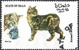 OMAN, CINDERELLA, FAUNA, GATTI, 1973, FRANCOBOLLO USATO EMISSIONE NON UFFICIALE - Oman