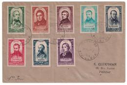 OBLITÉRATION PREMIER JOUR FDC Sur ENVELOPPE Avec SÉRIE CENTENAIRE REVOLUTION N° 795 À 802 CAD PARIS 5 AVRIL 1948 - ....-1949