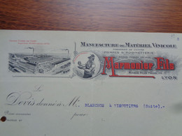 FACTURE - 69 - DEPARTEMENT DU RHÔNE - LYON - MANUFACTURE DE MATERIEL VINICOLE : MARMONIER FILS - Non Classés