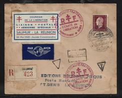 """Enveloppe Recom  Oblit  """"SAUMUR  LIBERATION  """" 1945   15 Fr DULAC + Cachet RF   POUR  ST DENIS LA REUNION /certificat - Covers & Documents"""