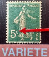 R1491/278 - 1907 - TYPE SEMEUSE CAMEE - N°137h (I) NEUF** Papier GC - VARIETE ➤➤➤ C Du 5c Partiel - 1906-38 Säerin, Untergrund Glatt