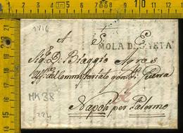 Piego Con Testo Militare Mola Di Gaeta Commissario Di Guerra Per Napoli Tagli Di Disinfezione - 1. ...-1850 Prefilatelia