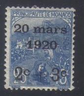 Monaco Mariage Princesse Charlotte Timbres De 1919 Orphelins 2 C.+3c.s.25 C.+15 C. N° 35* Neuf Avec Trace De Charnière - Neufs