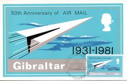 GIBRALTAR. N°430 De 1981 Sur Carte Maximum. Service Postal Aérien. - Post