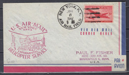 Brief Van New York Air Mail Field Naar Minneapolis U.S. Air Mail Helicopter Service - Helicopters