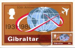 GIBRALTAR. N°432 De 1981 Sur Carte Maximum. Service Postal Aérien. - Post