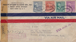 U.S.A. SCOTT STAMP & COIN CO. ENVELOPPE. CIRCULEE NEW YORK A ARGENTINA. ANNEE 1944, PAR AVION.- LILHU - Covers & Documents
