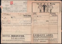 1921-1928 7 Db Távirat Bristol Szálloda, REMO Ruházat és Virág Témájú Reklámokkal / 1921-1928 7 Telegrammes With Adverti - Non Classificati