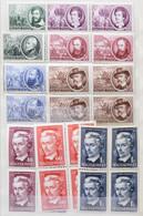 ** Négyestömb Gyűjtemény A 40-es 50-es évekből, 24 Négyestömb Sor + Néhány önálló érték, Közepes Berakóban / Collection  - Non Classificati