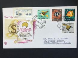 AUSTRALIA Decimal Currency FDC Registered Cocos (Keeling ) Islands To Muswellbrook NSW - Briefe U. Dokumente
