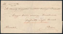 """1848 Hivatalos Levél """"ROSENBERG"""" Madocsányi Pál (1807-1875) éhínség Tárgyában Működő Országos Biztos, (Árva Vármegye Fői - Non Classificati"""