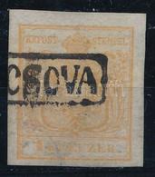"O 1850 1kr HP Ia Világos Barnás Narancs / Light Brownish Orange ""(PAN)CSOVA"" Signed And Certificate: Ferchenbauer (Gudli - Non Classificati"