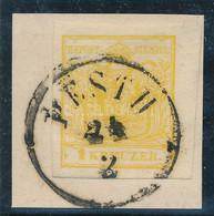 1850 1kr MP III. Kadmium Sárga, Jobb Oldalon Nagy ívszéllel, Kivágáson / Cadmium Yellow With Large Margin On The Right S - Non Classificati