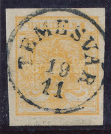 "O 1850 1kr HP III. Narancs / Orange ""TEMESVÁR"" Certificate: Zenker - Non Classificati"
