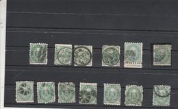 Japon 1879 1883 : 13 Timbres 1 Sen Vert Voir Dentelure Oblitération - Used Stamps
