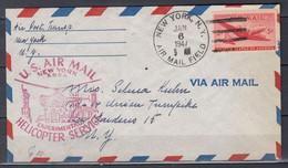 Brief Van New York Air Mail Field Naar N.Y. U.S. Air Mail Experimental Helicopter Service - Helicopters