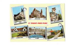 Cpm - 62 - > Le Touquet Paris Plage - Multivues Timbre Marché Couvert Piscine Motels Tour De Contrôle - Le Touquet