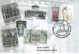 ITALIA 2015 BASSIANO (LT) PELLEGRINI SULLA VIA FRANCIGENA ANNULLO CARTOLINA DEDICATA - Christianity