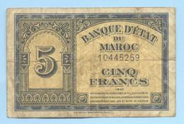 BILLET 5 FRANCS  MAROC 1943  1/08/43 - Morocco