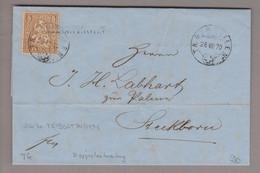 CH Heimat TG Triboltingen 1870-08-26 Langstempel (Taegerweilen) Brief Nach Steckborn Mit 5Rp. Braun Sitzende H. - Covers & Documents