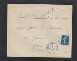 ALSACE RECONQUISE. LETTRE  DE WESSERLING POUR LA CROIX ROUGE  A GENEVE,LETTRE OUVERTE CONTROLE PAR LA CENSURE. - Oorlog 1914-18