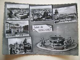 1961 - Saluti Da Bergamo - Vedute - Fontana - Piazza V. Veneto E Torre Dei Caduti - Battistero Duomo Chiesa - Gruss Aus.../ Grüsse Aus...