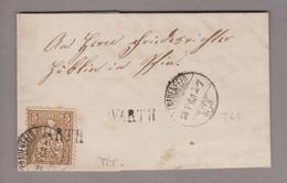 CH Heimat TG Warth 1868-05-13 Langstempel (Frauenfeld #T61 Güller Test-O) Brief Nach Pfyn Mit 5Rp. Braun Sitzende H. - Covers & Documents