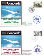 Concorde British Airways - Premier Vol  Londres-Tours-Londres - 7 Juin 87 Transport Passagers Aux 24h Automobile Du Mans - Concorde