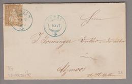 CH Heimat TG Sirnach 1877-09-01 Blau Auf Briefvorderseite Nach Atzmoos Mit 5Rp. Braun Sitzende H. - Covers & Documents