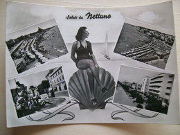 1958 (?) - Saluti Da Nettuno - Negozio Fratelli Porfirio - Fontana Del Dio Nettuno Piazza Mazzini - Gruss Aus.../ Grüsse Aus...