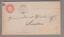 CH Heimat TG Arbon 1875-03-14 Grenzrayonbrief 10 Rp. Tübli Ganzsache Nach Lindau DE - Covers & Documents