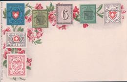 Suisse, Carte Avec Les Premiers Timbres Suisses Imprimés Litho (8861) - Stamps (pictures)