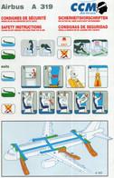 CCM AIRLINES AIRBUS A 319 - Fichas De Seguridad