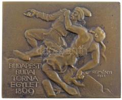 """Reményi József (1887-1977) 1923. """"Budapesti Budai Torna Egylet 1869"""" Br Sport Díjplakett """"BERÁN BP"""" (27,37g/49x61mm) T:2 - Unclassified"""