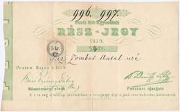 """Pest 1859. """"Pesti Mű-Egyesületi Rész-jegy"""" 5 1/4Ft-ról, 5kr Okmánybélyeggel, """"996, 997"""" Sorszámokkal T:III / Hungary / P - Unclassified"""