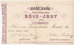 """Pest 1863. """"Pesti Müegyesületi Rész-jegy"""" 5 1/4Ft-ról, """"3862, 3863"""" Sorszámokkal T:II / Hungary / Pest 1863. """"Share Of T - Unclassified"""