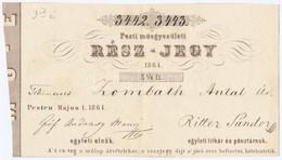 """Pest 1864. """"Pesti Müegyesületi Rész-jegy"""" 5 1/4Ft-ról, """"3442, 3443"""" Sorszámokkal T:II / Hungary / Pest 1864. """"Share Of T - Unclassified"""