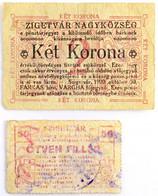 """Szigetvár 1908. 50f + 2K, Mindkettő Hátlapján """"SOMOGY VÁRMEGYE SZIGETVÁR KÖZSÉG"""" Bélyegzéssel és Aláírással T:III,III- / - Unclassified"""