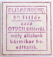 """Sepsiszentgyörgy 1915-1916. 50f Elismervény, Hátoldalán """"Székely Szövőgyár és Háziipar Vállalat - Klinger Henrik - Sepsi - Unclassified"""