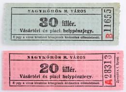 """~1930-1940. 20f + 30f """"Nagykőrös M. Város - Vásártéri és Piaci Helypénzjegy"""" érvénytelenítve T:III / Hungary ~1930-1940. - Unclassified"""