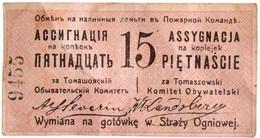 """Lengyelország / Orosz Adminisztráció 1914. 15k """"Tomaszów Mazowiecki"""" Hátoldalán A Tomaszów állampolgári Bizottság Bélyeg - Unclassified"""