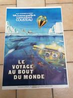 AFFICHE CINEMA    LE VOYAGE AU BOUT DU MONDE COMMANDANT COUSTEAU  1975  ( 40 CM X 60 CM ) - Posters