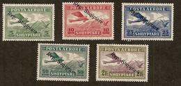 Albanie: Poste Aérienne:8-9-10-11-13 Neufs Légère Marque De Charnière, Bien Centrés,très Frais, Très Beaux - Albania