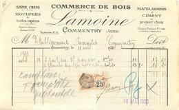 FACTURE STE LAMOINE COMMERCE DE BOIS A COMMENTRY  1933 - 1900 – 1949
