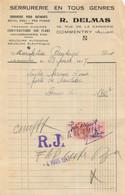 FACTURE R. DELMAS SERRURERIE COMMENTRY  1947 - 1900 – 1949